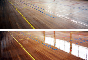 Renovatie houten sportvloer
